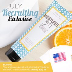 """Loves it! #exclusive gift with July's starter kits is a Moisturize 911 Caffeinated tightening BODY Creme AND if you join by July 18th, we BOTH get a Posh """"Made in the USA"""" t-shirt!!  <3  #Awesome! #Poshtastic! #BeMorePampered #YouDeserveIt #GetPaidtoPamper! www.perfectlyposh.com/sarah/join"""