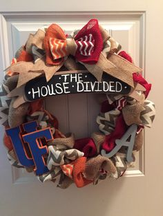 House divided wreath by CustomaDOORables on Etsy