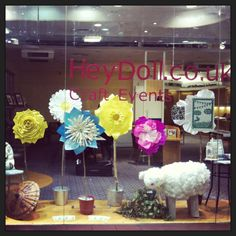 Our Hey Doll! Art festival empty shop display, Darwin shopping centre, Shrewsbury.  Also advertising the upcoming craft fayre. Only a few days to go...... :)  Paper flowers and vintage furniture, and more creative stuff.