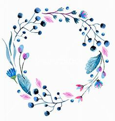 Watercolor flower wreath vector floral frame - by Elmiko on VectorStock®