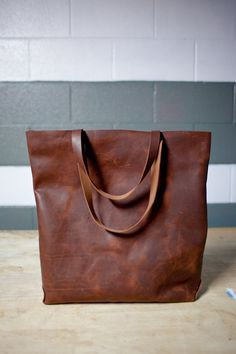 Hand Sewn Leather Tote distressed brown by KMMLeathergoods on Etsy, $150.00