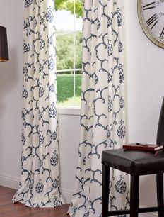 Impressions Blue Printed Cotton Curtains & Drapes