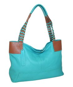 Love this Turquoise & Brown Whip It Good Leather Tote on #zulily! #zulilyfinds