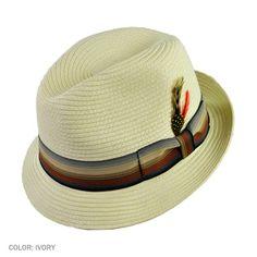 Jaxon Summer Blues Trilby Fedora Hat in Ivory