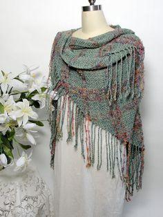 Shawl Wrap Teal Rose Copper Women Special Occasion Elegant Evening Wrap Soft Hand Spun Hand Dyed Merino Mohair Silk Blend Fibers Handwoven