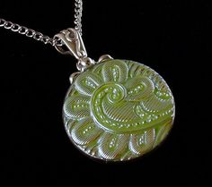 Paisley moon glow Czech glass button pendant