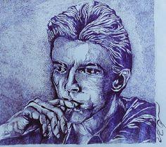 David   bowie --- graphics drawn   with a pen  M.Cybula .