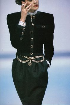 "fashiontimeless: ""Ines de la Fressange for Chanel, "" 1987 Fashion, 80s And 90s Fashion, Chanel Fashion, Couture Fashion, Retro Fashion, Runway Fashion, High Fashion, Vintage Fashion, Womens Fashion"