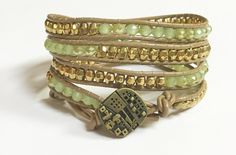 Handmade Leather Wrap Bracelet with Light Green Crystal Beads accented with Gold Beads on Light Beige Leather Handmade Jewelry  by BohemianWrapsody, $42.50 USD
