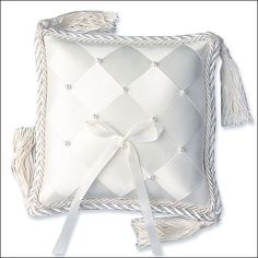 Ring Bearer Pillow - Woven Ribbon & Pearls - White