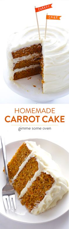 Classic carrot cake made with a heavenly cream cheese frosting.  Perfection! | gimmesomeoven.com
