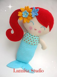 Handmade cloth dollGirl giftRagdollCloth by lunnitastudio on Etsy Love Sewing, Sewing For Kids, Fabric Dolls, Paper Dolls, Diy Dolls Making, Mermaid Quilt, Sewing Crafts, Sewing Projects, Mermaid Dolls