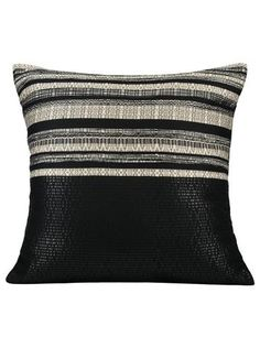 "Pillow Studio RUF Black & White Diva Size:  20"" x 20""  or  50 cm x 50 cm   LEATHERETTE PILLOW  Handmade in Morocco: pillows, throws and bedspreads"