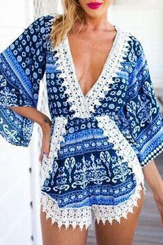 Chasubles & Grenouilleres Bleu Imprime Crochet De Dentelle Plongeant R –…