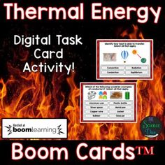 Thermal Energy Task Cards - Distance Learning Compatible Digital Boom Cards™ Motion Graphs, Thermal Energy, Force And Motion, Middle School Science, Teaching Strategies, Creative Teaching, Science Lessons, Task Cards, Distance