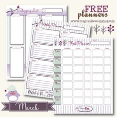 Free Printable Planners - The CreativiDee Workshop. I just printed a calendar to use with my kids and there are a lot of wonderful printables on this site. I would reccomend it to anyone looking for cute calendars or planners.