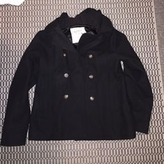 Old navy pea coat jacket with hood Cutest old navy pea coat, got it for Christmas from my parents and ended up never wearing it. It is a size XL (Extra large) in kids sizes which means in women's, it is a size XS. very comfortable and never worn but does not have tags Old Navy Jackets & Coats Pea Coats