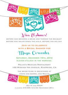 Viva El Amor Bridal Shower Fiesta Papel Picado Invitation Love birds - I design, you print. $25.00, via Etsy.