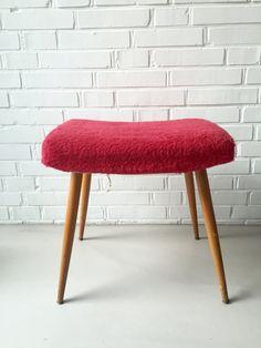 Vintage Hocker, Mid Century, Plüsch, Vintage, Stuhl von moovi auf Etsy