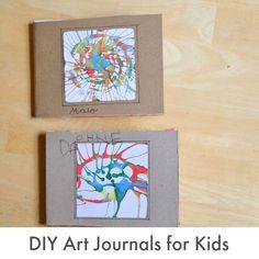 DIY Art Journals for Kids with Drawing Prompt Ideas. Pretty art keepsake.