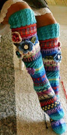 Long wool women ladies socks, Anelmaiset socks, warm winter knitted over the knee socks, striped, colorful knee length / high socks Fair Isle Knitting, Knitting Socks, Hand Knitting, Crochet Slippers, Knit Crochet, Crochet Hats, Tie Crafts, Yarn Crafts, Knitting Projects