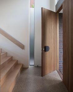 """Tongue n Groove on Instagram: """"#TnGLoves – Balwyn North by Matyas Architects 💭 The brilliant brick façade of this Melbourne home masks the spacious interiors beyond.…"""" Timber Front Door, House Front Door, House Entrance, Front Doors, Entry Way Design, Front Door Design, Front Door Decor, Entry Door Hardware, Entry Doors"""