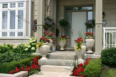 """In some front yard landscaping projects, the front porch is the final point leading into the home from the street or driveway. In other city or street side small yards, a front porch may be the only entryway you get to decorate into your home. Either way, a little garden decor and decoration can go a long way for creating curb appeal and a sense of invitation into the home.    Staying within the theme of the rest of the landscaping, planters and potted plants are a common and popular choice..."""
