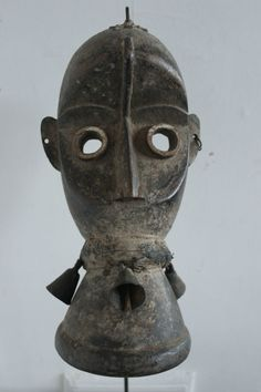 African Dan Guere mask with brass bells and teeth (Côte D'Ivoire)