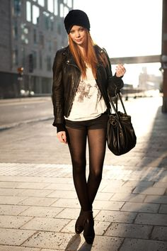 Black leather jacket x tights