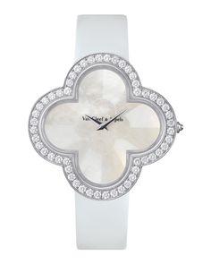Alhambra Talisman White Gold Watch, 40mm, Women's - Van Cleef & Arpels