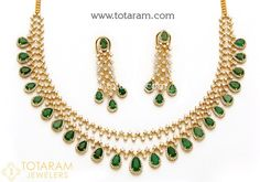 18 Karat Gold Lines' Diamond Necklace & Earrings Set with Emeralds Net Gold Weight : Grams Diamond Tennis Necklace, Necklace Extender, Rose Gold Jewelry, Diamond Jewelry, Gold Jewellery Design, Earring Set, Emeralds, 18k Gold, Jewerly