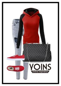 """YOINS III-5"" by hanifasemic ❤ liked on Polyvore featuring Vans, women's clothing, women's fashion, women, female, woman, misses, juniors and yoins"