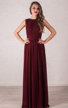 20 Stunning Marsala Bridesmaid Dress Ideas For Fall Weddings: #6. Flowy burgundy maxi dress