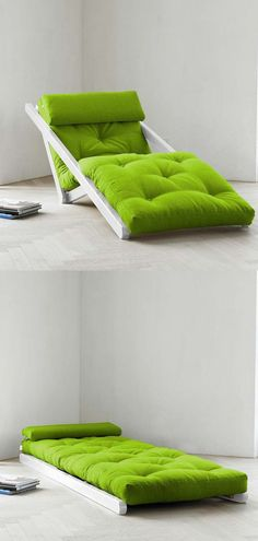 a chaise lounge that spreads flat into a comfy sleep surface for guests