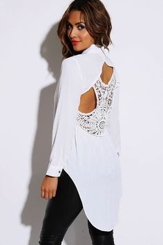 #1015store.com #fashion #style bright white cut out crochet back button up high low blouse top-$15.00