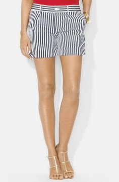 Striped shorts for sailing.