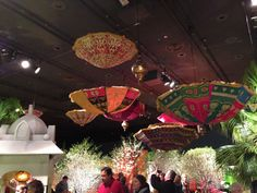 Umbrellas suspended over the flower show. Really cool!