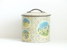 SALE Vintage Biscuit Tin Decorated with by LesTempsPerdus on Etsy
