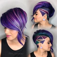 Winner! Congratulations Amy @pink_nouveau on your 1st Place win #3PHair Contest @purple.hair.affair #riversidehairstylist . . . #purplehair #hairpainting #shorthair #undercut #hairtattoo #hairetching #edgyhair #clippercut #clipperart