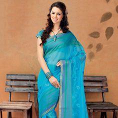 Turquoise Blue Cotton Silk Saree