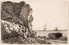 Claude Monet, Cliffs and Sea, Sainte-Adresse, 1865, black chalk on ivory laid paper