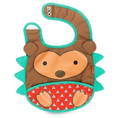 Skip Hop Zoo Little Kid and Toddler Tuck-Away Water Resistant Baby Bib, Hedgehog