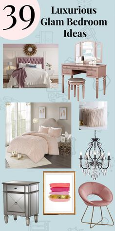 Bedroom decor should be fun and unique. A glam bedroom is both!  These are my favorite Glamorous bedroom ideas for your glam room. Paris Inspired Bedroom, Bedroom Diy, Glam Bedroom, Small Bedroom Decor, Home Room Design, Glamourous Bedroom, Woman Bedroom, Glam Room, Room