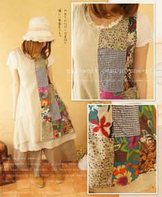 patchwork design one-piece mixed fabrics