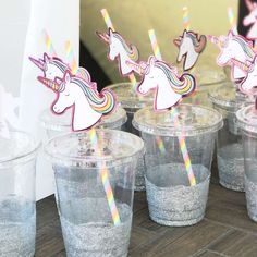 What cute straws and glitter glasses at this Unicorn Birthday Party! See more party ideas and share yours at CatchMyParty.com