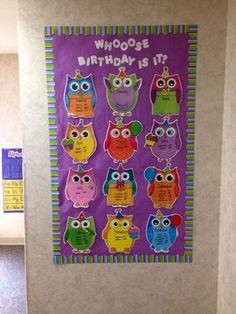 25 Awesome Birthday Board Ideas For Your Classroom Birthday Calendar Classroom, Preschool Birthday Board, Birthday Bulletin Boards, Owl Theme Classroom, Classroom Board, Toddler Classroom, Classroom Displays, Preschool Classroom, Kindergarten