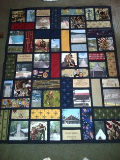 Boy Scout photo quilt for silent auction 2013 … Tie Quilt, Patch Quilt, Quilt Blocks, Shirt Quilts, Applique Quilts, Quilting Projects, Quilting Designs, Sewing Projects, Quilting Ideas