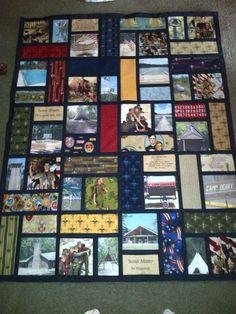 Boy Scout photo quilt for silent auction 2013 … Tie Quilt, Patch Quilt, Applique Quilts, Quilt Blocks, Quilting Projects, Quilting Designs, Sewing Projects, Boy Quilts, Shirt Quilts