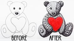 Teddy Bear Zentangle | Speed Drawing for Valentine
