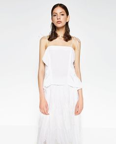 $18 POPLIN TOP WITH FRILL from Zara